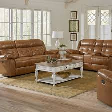 picture of holbrook saddle leather reclining sofa console loveseat