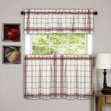 Plaid Kitchen Curtains Valances Maroon Kitchen Curtains 04334920170511 Ponyiexnet
