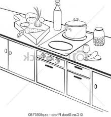 kitchen table clipart black and white. vector clipart of kitchen - kitchen. cooking. b\u0026w outline regarding best black and white table