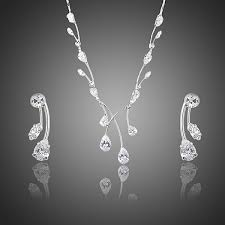 wedding bridal jewellery set in princess clear waterdrop swiss cubic zirconia drop earrings and pendant necklace set 269 p jpg