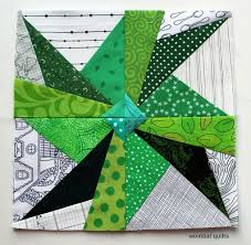 967 best Pleasing Pieced Quilts: Paper-Piecing images on Pinterest ... & Paper-pieced green & white fan star block, made by cath hall, on the wombat  quilts site Adamdwight.com