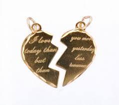 9ct gold engraved broken heart love pendant