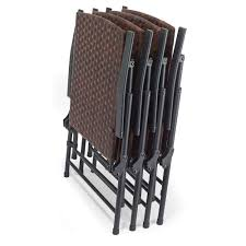the folding all weather wicker table and chairs hammacher schlemmer