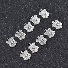 details about 10pcs mini police department badge silver pendant beads for jewelry making