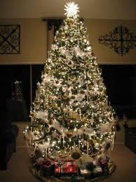 Sumptuous pre lit christmas tree in Spaces Traditional with Beaded Garland  next to Luxury Decor alongside Gold ...