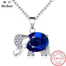 Designer Elephant Jewelry Lab Sapphire Blue Birthstone Elephant Pendant Necklace For