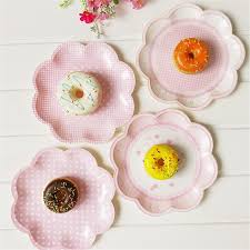 Pink Flower Paper Plates 8pcs Bag Sweet Pink Flower Shaped Disposable Tableware Party Paper