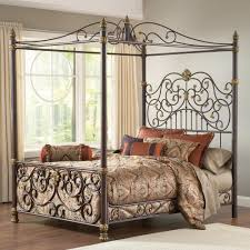 Bedroom Furniture King Size Metal Canopy Bed Posts Intricate ...