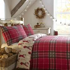 red pattern duvet covers fusion tartan stag flannelette brushed cotton tartan print reversible bedding duvet quilt cover set red cream in single