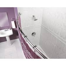 smart rod double curved tension shower curtain rod brushed nickel