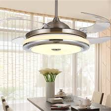 invisible retractable blades chrome ceiling fan 42 inch modern simple chandelier with lights for living retractable ceiling light fixture a94