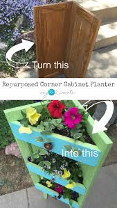 make a beautiful corner planter out of old cabinet doors an easy to follow diy