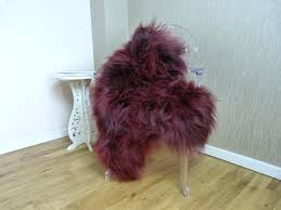 sheepskin rug coloured burdy red icelandic grey genuine sheepskin rug