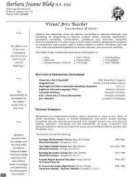 Arts Resumes Visual Arts Teacher Resume Teacher Resume Template