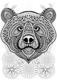 Stylized Bear Face On Flowers Hand Drawn Ethnic Animal For Adult