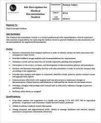 Him Chart Analyst Job Description Medical Records Job Description Sample 11 Examples In