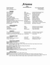 Music Resume Templatesical Theatre Theater Format Audition Musical