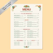 Sample Breakfast Menu Template Cool 48 Free Menu Templates Free Sample Example Format Download