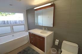 mid century modern bathroom tile. Mid Century Modern Bathroom Tile Having Wall Mounted Square Tempered Glass Mirror White Free Standing