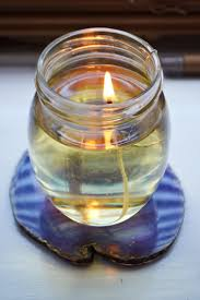 today i learned that if you ever have a blackout you can make a quick and easy lamp using olive oil and a jar or tin it works like a candle but