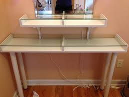 cool glass top vanity table with artsy diy narrow makeup vanity table with storage under glass