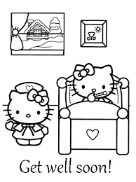 Hello Kitty Coloring Get Well Soon Coloring Sheet Hello Kitty