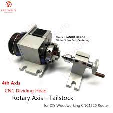 CNC <b>Dividing Head</b> Rotary Axis + Tailstock <b>4th Axis</b> Nema17 Motor ...
