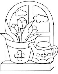 Coloriage Pot De Fleurs Et Arrosoir