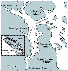 Map Of Saanich Inlet British Columbia Canada Showing