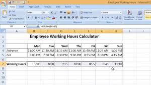 Hour Sheet Calculator How To Calculate Time In Microsoft Excel 2016 Tutorial The Teacher
