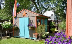 coloful shed on garden walk buffalo