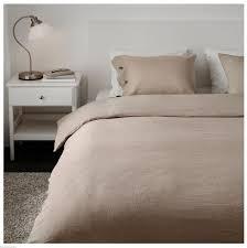 ikea linblomma queen full duvet cover and pillowcases set linen natural beige