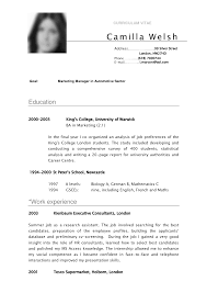 Cv Sample Curriculum Vitae Camilla For School Pinterest