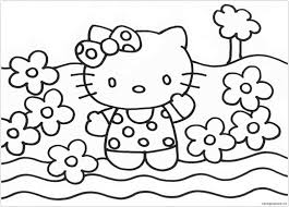 Find out your favorite coloring sheets in hello kitty coloring pages. Hello Kitty And Flowers Coloring Page Free Coloring Pages Online