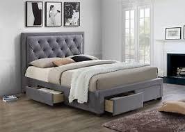 king size bed with storage drawers. Image Is Loading Birlea-Woodbury-Grey-Fabric-4-Drawer-Storage-Bed- King Size Bed With Storage Drawers X