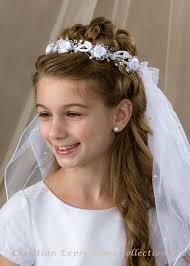 First Communion Hairstyles 48 Best 24 Best First Communion Wreath Veils Images On Pinterest Wedding