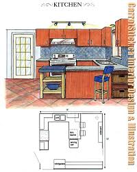 interior design kitchen drawings.  Interior Interior Designor Sketch Of Remodeled Kitchen With New Color Scheme  Counter Tops And Furnishings And Design Kitchen Drawings