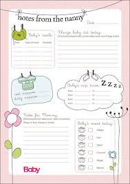 baby daily report sheet printable daily chart for nannies parent24