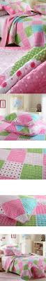 CHAUSUB Kids Patchwork Quilt Set 2PCS Twin size Cotton Quilts Bedspread  Sheets Bed Cover Pillowcase Pink