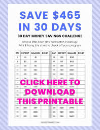 Save Money In A Year Chart 30 Day Money Saving Challenge Save 500 Free Printable Chart