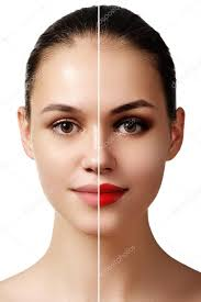 beautiful young woman before and after make up applying parison portrait two parts of model face