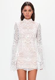 Peace Love White Lace Flared Sleeve Bodycon Mini Dress Mini
