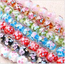 2019 whole lampwork glass beads for making charm bracelets necklace decoration petals flower designs round jewelry beads supplies from jane012