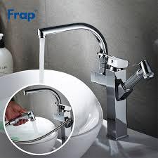Frap multifunctional kitchen faucet double spout pull out mixer single ...