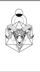 Geometric Animal Tattoo Aries Ram Geometric Background Kresba
