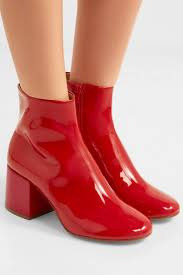 mm6 maison margiela womens patent leather ankle boots red