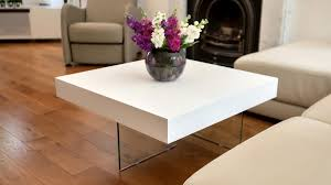 Square White Oak Coffee Table  Tempered Clear Glass LegsSmall Square Coffee Table