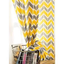 yellow and gray chevron print linen cotton blend contemporary long curtains for bedroom yellow chevron curtains