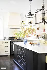 lantern style pendant lighting. Fall Home Tour - Casual Elegant Black And White Kitchen With Large Island Lantern Style Pendant Lighting. Lighting I