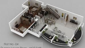 4 Bedroom Luxury Apartment Floor 3D Plan 2 Bedroom House Floor